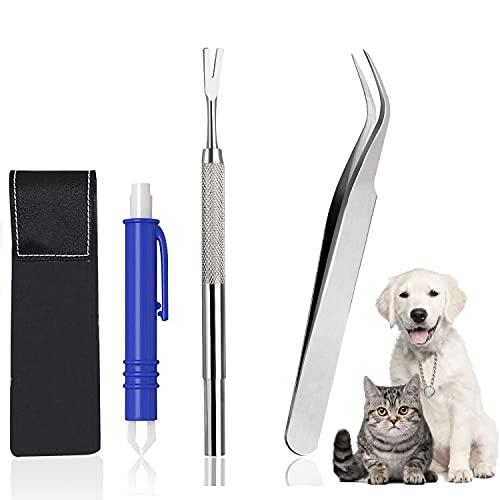 Zeckenentferner 3 Teiliges Set, 1 Zeckenzange + 1 Zeckenpinzette mit Feder + 1 Zeckenhaken, mit Leder-Etui, Zeckenzange für Hunde & Katze