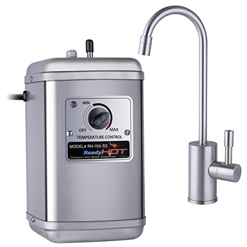 Ready Hot 41-RH-150-F570-BN Compact Instant Hot Water Dispenser, Manual Temperature Control, Reverse Osmosis Compatible, Brushed Nickel