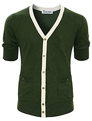 TAM WARE Mens Classic Slim Fit Ribbed Six Buttoned Cardigan TWCMC06-KHAKI-US S from TAM WARE