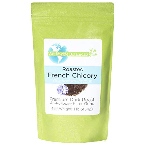 Worldwide Botanicals French Chicory Root - Dark Roast  Brew Like Coffee, Blend Roasted Chicory Root With Coffee, Prebiotic Coffee Alternative, Acid Free, Caffeine Free, Kosher, 1 Pound