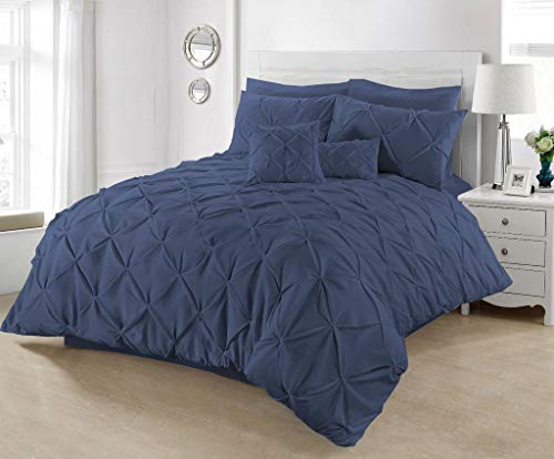 Pintuck Duvet Cover with Pillowcases 100% Percale Cotton Quilt Bedding Covers Single Double King Super King Size Bed Sets (Navy, King)