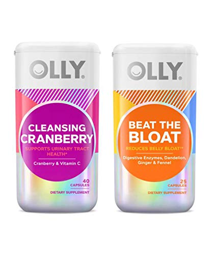 Olly Cleansing Cranberry and Beat The Bloat Supplement Set! Cleansing Cranberry Supports Urinary Tract Health! Beat The Bloat Help Reduce Belly Bloat! Gluten Free, Vegetarian & No Artificial Flavors!