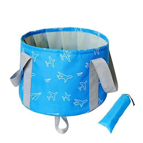 Qiaoxianpo01 Faltbarer Eimer, Tragbarer Outdoor-Reise-Multifunktions-Faltbarer Wasch-Eimer, Fassungsvermögen 10L, Blau, Werbegeschenk, komprimiertes Handtuch Prägnant (Color : Blue, Size : 29 * 19cm)