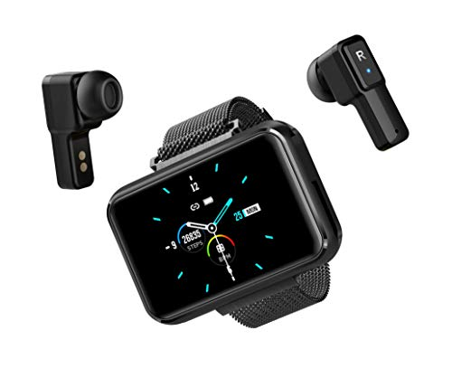 Smart Watch with Earbuds with Bluetooth Connectivity Smart Watches Touchscreen Fitness Activity Tracker with Camera Sleep Monitor Wireless Earbuds Inside Smart Watch for Voice and Music (Black)