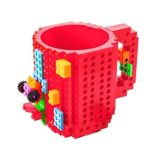 Kreative DIY umweltfreundliche Bausteine Kunststoff Kaffeetasse Brick-Becher Red