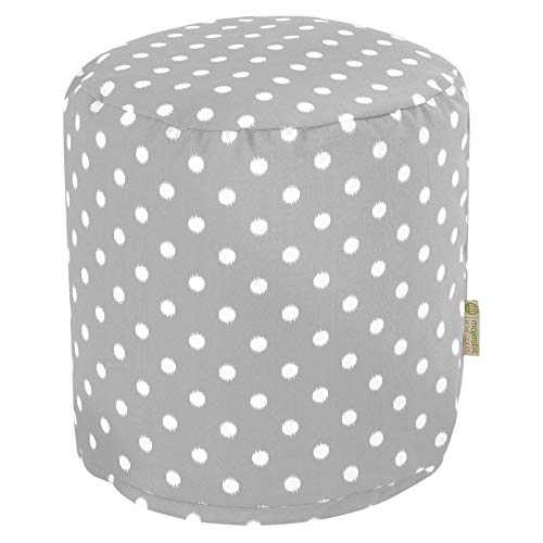 "Majestic Home Goods Gray Ikat Dot Indoor/Outdoor Bean Bag Ottoman Pouf 16"" L x 16"" W x 17"" H"