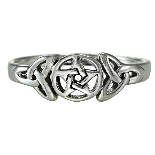 Moonlight Mysteries Sterling Silver Celtic Knot Pentacle Triquetra Pagan Wiccan Goddess Ring (sz 4-15) sz 9.5