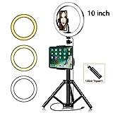 VKFX Anillo de Luz LED Regulable LED Live Video Ring Light Set con Clip de Tableta Trípode 3 Colores para Móvil, Cámara, Youtube, Selfie Vídeo de Maquillaje / 120cm
