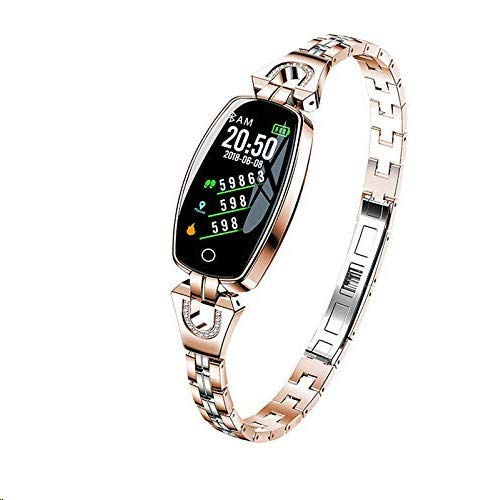 RISSME Bracelet intelligent pour femme, étanche, traqueur de calories, cardiofréquencemètre, podomètre, moniteur de sommeil, compatible avec iOS et Android