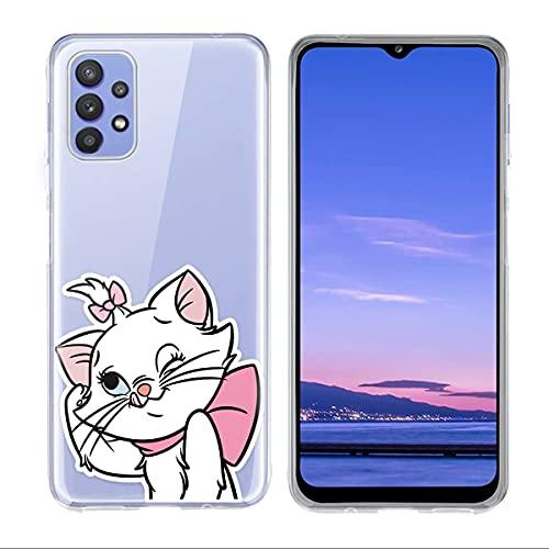 ZhuoFan Custodia per Samsung Galaxy A32 5G Cover [6.5'] Anti-Graffio Anti-Scivolo Caduta Protezione Cover Case Disegno Trasparente in Silicone TPU Morbido Bumper Case, Gatto 2