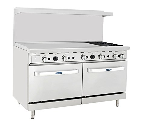 Atosa ATO-48G2B 60'' Gas Range. (2) Open Burners and 48'' Griddle on the LEFT with Two 26'' 1/2...
