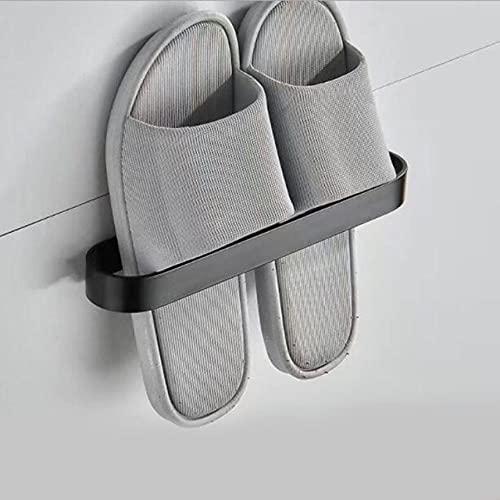 50CM Barras de Toalla de baño Plegables y móviles Espacio Organizador de Aluminio Percha Soporte para Toallas de baño Soporte para Estante de Almacenamiento Accesorios de Gancho, Negro Zapatilla