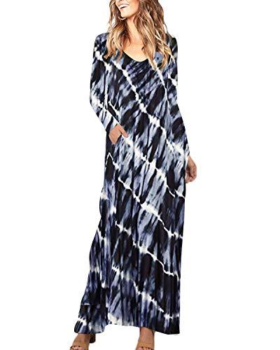 ZANZEA Women Casual Long Sleeve Tie-dye Floral Print Dress V Neck Pockets Loose Maxi Dress 01-Floral4 2XL