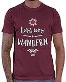 HARIZ Herren T-Shirt Edelweiss Wandern Wandern Klettern Inkl. Geschenk Karte Wein Rot XL
