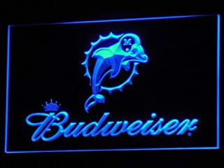 TeroLED Miami Dolphins Budweiser Beer Pub 30cm x 20cm Led 3D Engraved Neon Sign Blue