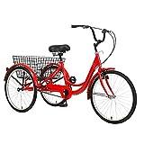 FGVDJ Pedal de 24', 7 velocidades, Triciclo de 3 Ruedas para Adultos, Bicicleta para Adultos, Bicicleta de Pedal con Canasta para Deportes al Aire Libre, Compras, ajustab