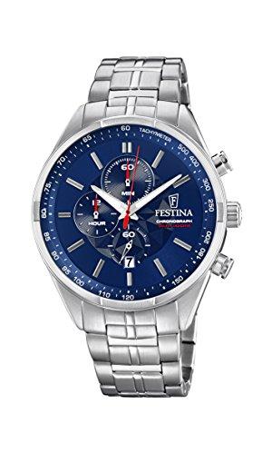Festina Unisex Erwachsene Chronograph Quarz Uhr mit Edelstahl Armband F6863/3