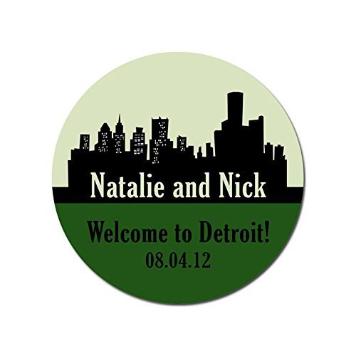 Personalized Customized Wedding Favor Stickers - Detroit Michigan Skyline - Choose Your Size