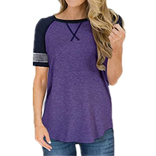 Women Short-Sleeved Comfortable Round Neck Stripes Irregular Hem Women Shirt Summer Generous Casual Classic Retro Breathable Elasticity Simplicity Commuting Women Blouse D-Purple XL