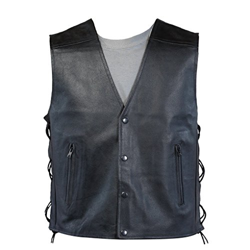 Lemoko - Chaleco para hombre (piel, con cordones, tallas: S-XXXL), diseño motero, color negro negro XL