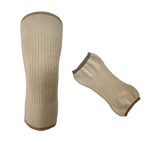 Flycheers Unisex Cashmere Wool Knee Brace Pads Thermal Knee Leg Winter Breathable Cozy Warm Knee Pads Soft Knee Sleeves Support Protector for Ski Cycling Dance Runing Arthritis Tendonitis(1 Pair) (Camel)