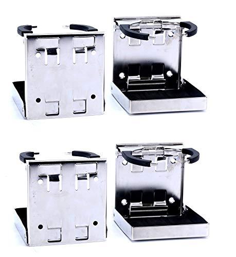 Amarine Made 4-Pack Stainless Steel Adjustable Folding Drink Holder Cup Holder Marine/Boat/Caravan/car