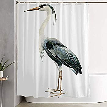 Avnaalvl Fabric Bathroom Curtain Sets Watercolor Standing Heron Birds Color On Isolated Hand White Animals Drawing Silhouette Wildlife Shower Curtain Bath Curtains with Hooks 72  W x 72  H