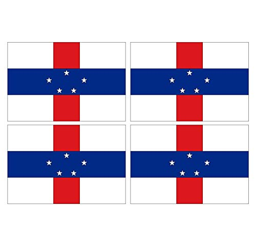 Supstick Set van 4 Nederlandse Antillen Land Vlag Stickers 12 x 8 cm