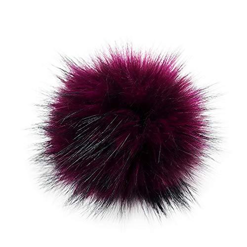 Pompón de pelo sintético para gorros y gorros, pompón de pelo sintético para tejer, sombreros, accesorios de invierno, pompón de pelo sintético (31 A)