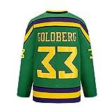 Gmjay Goldberg # 33 Mighty Ducks Hockey sobre Hielo Jersey Película Hockey Verde Letras Cosidas Números S-XXXL,XL