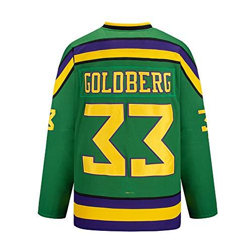 Gmjay Goldberg # 33 Mighty Ducks Eishockey Jersey Movie Hockey Grün Genähte Buchstaben Zahlen S-XXXL,S