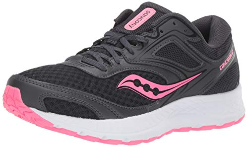 Saucony Women's VERSAFOAM Cohesion 12 Road Running Shoe, Black/Pink, 5 M US