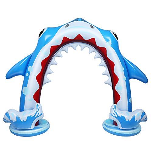 Toyvian Aufblasbarer Hai-Sprinkler für Kinder, 94,5 * 78,7 Zoll Riesen-Wassersprinkler-Spielzeug für den Außenbereich, großes Sprinkler-Wasserspielzeug für den Außenbereich