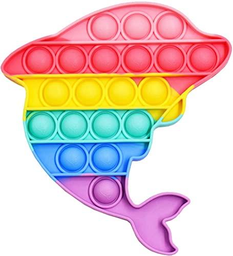 POP IT - Juguete Antiestres - Fidget Toy Silicona Sensorial - Juego Entretenimiento para Aliviar el Estres - Juguetes Educativos para Niños y Adultos - Pop Bubble Sensory Toy (Delfín Multicolor)