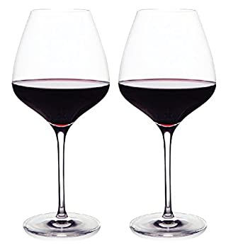 The One Wine Glass - Perfectly Designed Shaped Red Wine Glasses For All Types of Red Wine By Master Sommelier Andrea Robinson Premium Set Of 2 Lead Free Crystal Glasses and Break Resistant