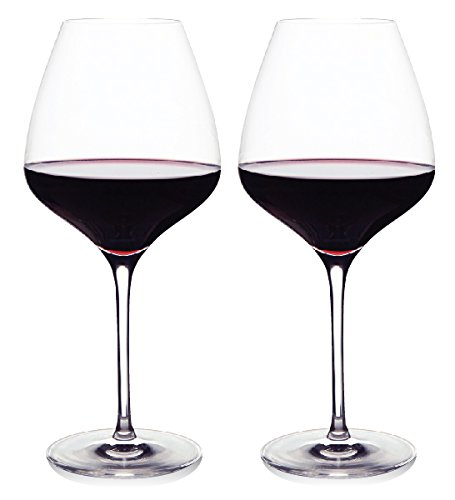 The One Wine Glass - Perfectly Designed Shaped Red Wine Glasses For All Types of Red Wine By Master Sommelier Andrea Robinson, Premium Set Of 2 Lead Free, Crystal Glasses, and Break Resistant