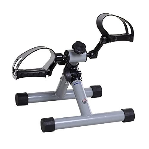 HOMCOM Mini Heimtrainer Beintrainer Fitness Pedaltrainer Armtrainer faltbar Mini-Bike stufenloser Widerstand für Hilfsrehabilitation und Mobilität Stahl Silbergrau 33 x 34 x 32 cm