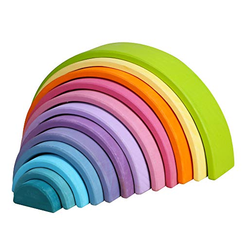 FUNCUBE Large 12 Pieces Rainbow Stacker Nesting Puzzle Wooden Building Blocks, Parent-Child Interactive Toys, 14 x 6.9 x 2.8 inches