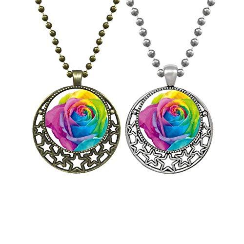 Rainbow Gay Lesbian Flower LGBT Lovers Necklaces Pendant Retro Moon Stars Jewelry