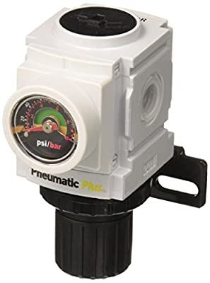 "PneumaticPlus PPR2-N02BG Miniature Compressed Air Pressure Regulator 1/4"" NPT - Embedded Gauge, Bracket from PneumaticPlus"