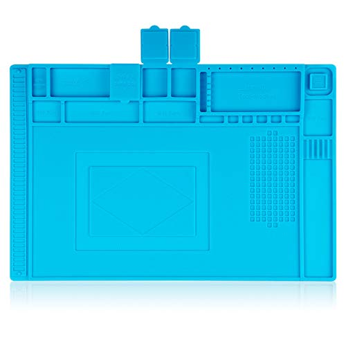 Aweohtle Lötmatte Silikon 500℃ Hitzebeständige Magnetisch Reparatur Matte Arbeitsmatte soldering mat antistatisch für Lötpistolen, Heißpistolen - groß 45x 30cm