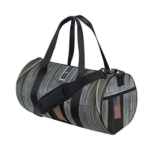 ZOMOY Sporttasche,Bauernhaus amerikanische Flaggen Fliegen Fenster von hölzernem,Neue Bedruckte Eimer Sporttasche Fitness Taschen Reisetasche Gepäck Leinwand Handtasche