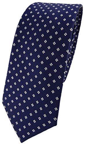 TigerTie - Corbata de seda de diseño estrecho con lunares estampados., Azul marino, azul oscuro, blanco plateado, Talla única
