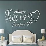 Bésame para siempre buenas noches citas de amor pegatinas de pared artista de vinilo decoración del hogar dormitorio habitación de pareja habitación de matrimonio tatuajes de pared mural 49x98cm