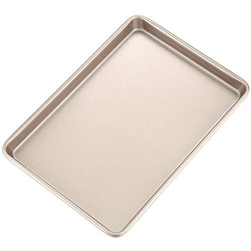 CHEFMADE 15-Inch Baking Sheet Pan, Non-Stick Carbon Steel Rimmed Cookie Sheet Pan for Oven Roasting Meat Bread Jelly Roll Battenberg Pizzas Pastries 10.6″ x 15.6″ x 1″ (Champagne Gold)
