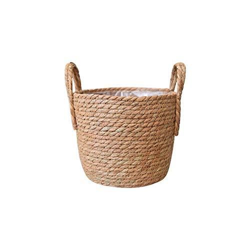 jeerbly Cesta de mimbre natural tejida a mano con asa, para jardín, florero, para colgar, cesta plegable