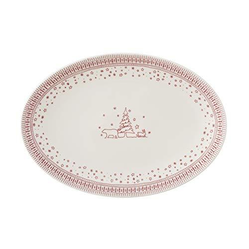 Royal Doulton Ellen DeGeneres Holiday 40034333 Servierplatte, oval, 43 cm, Porzellan, Rot