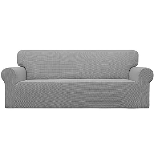Easy-Going Stretch Sofa Slipcover 1-Piece Couch Sofa Cover Furniture Protector Soft with Elastic Bottom for Kids, Spandex Jacquard Fabric Small Checks(Sofa,Light Gray)