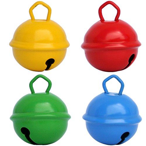 Cascabeles de Colores Grandes Amarillo + Rojo + Azul + Verde(25mm x4 Campanillas Bronce Musicales Sonoros) Para...