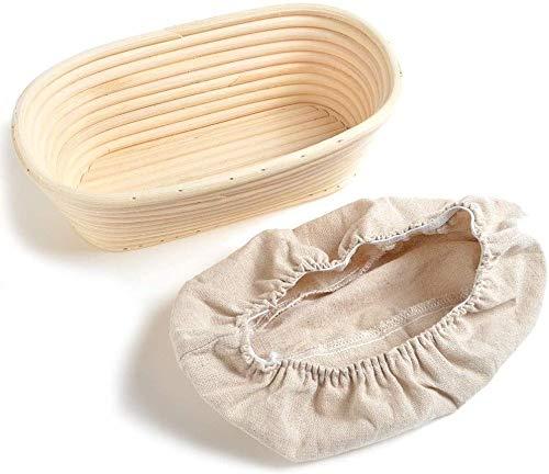 Sumshy Gärkörbchen klein Oval, 25 * 15 * 8CM, Garkörbchen für Brot [ Hergestellt aus 100% handgefertigtem Natur-Rattan-Rohr & ohne Bleichprozess ] - 100% Natur-Rattan - inkl. Leineneinsätze